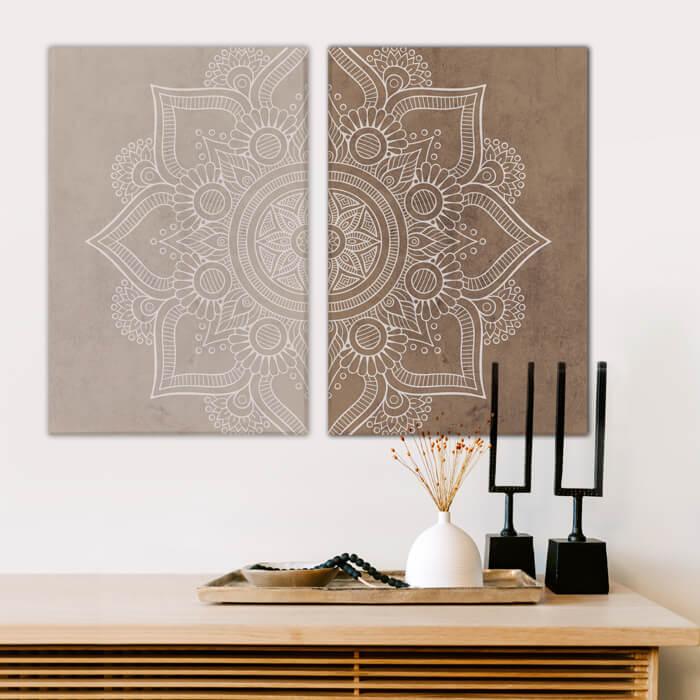poster set mandala beige