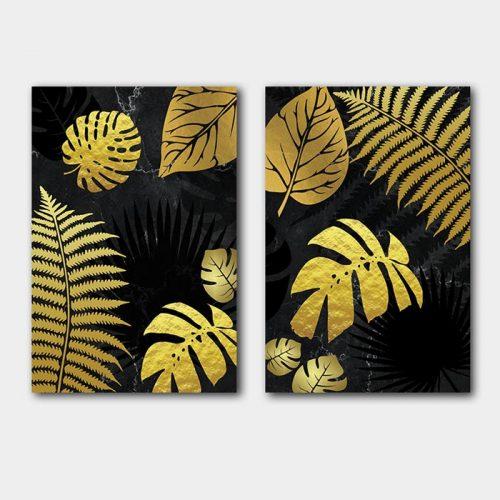 poster set gouden blad marmer