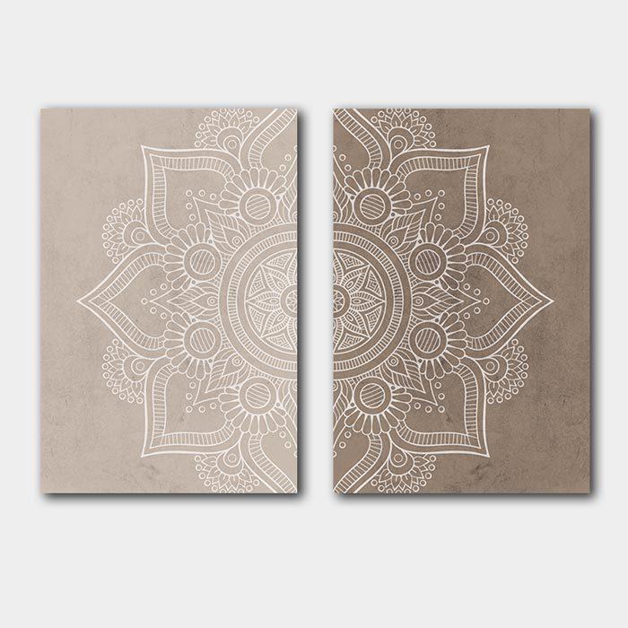 mandala poster set beige bruin