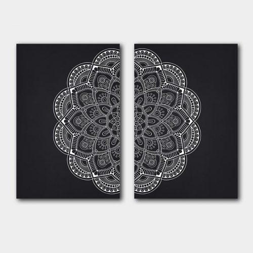 poster set mandala op zwart