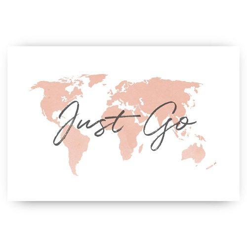 poster wereldkaart just go tekst