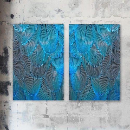 schilderij poster blauwe veren