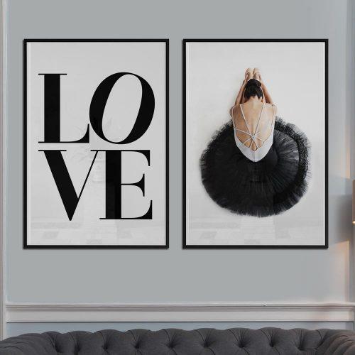 poster print love tekst danseres