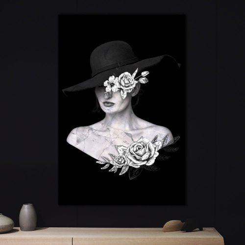poster vrouw steen bloemen