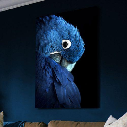 schilderij blauwe papegaai