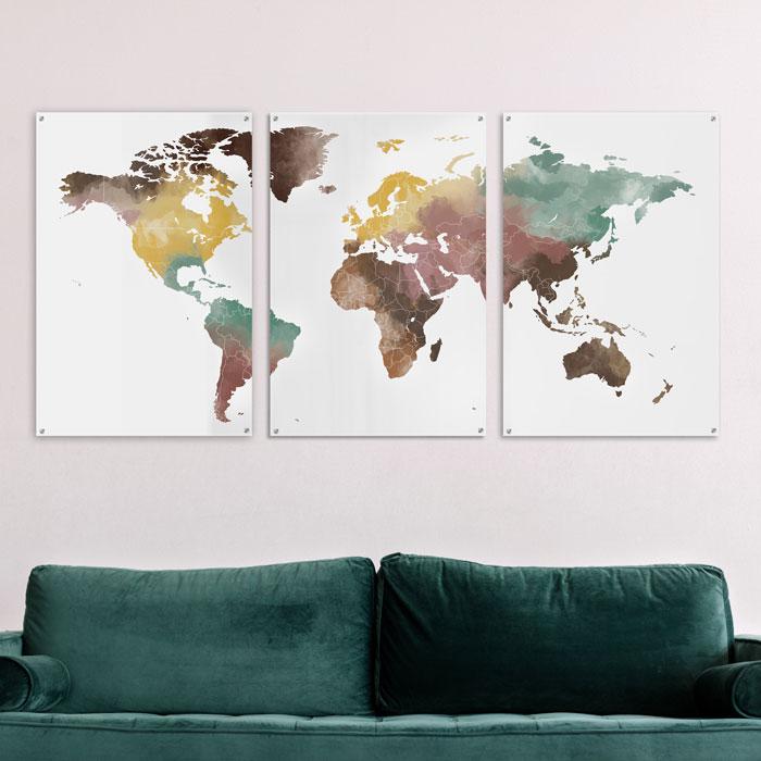 poster wereldkaart aquarel kleurrijk
