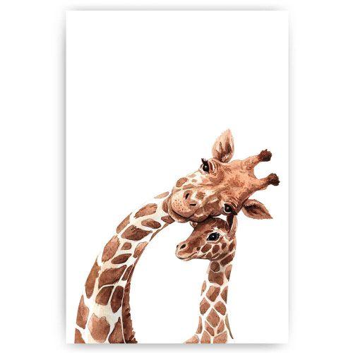 Poster Giraffe moeder en baby