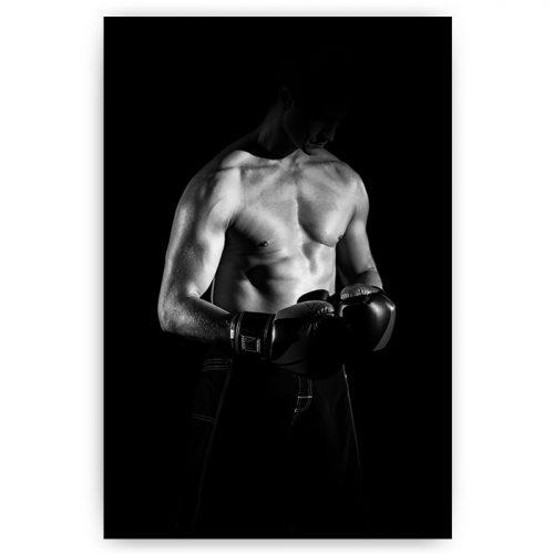 bokser zwart wit met handschoenen