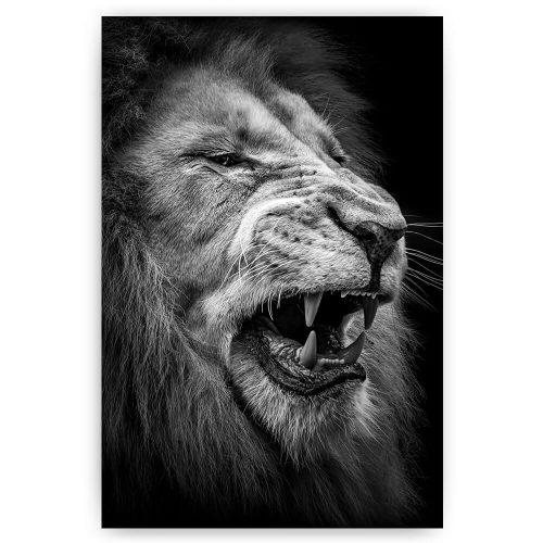 schilderij brullende leeuw zwart wit