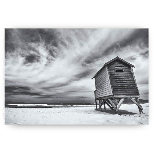 Strandhuis zwart wit