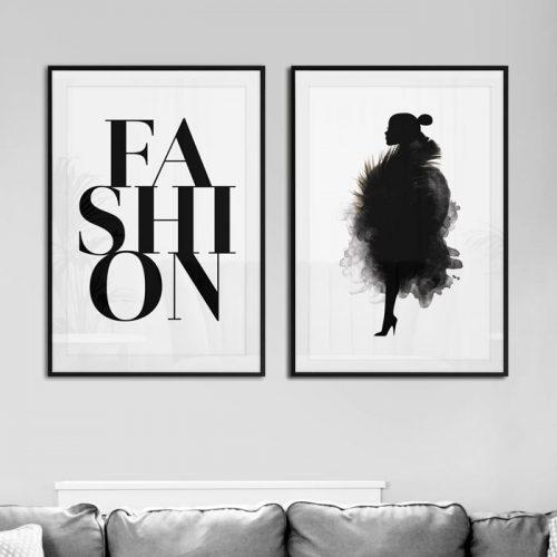 set tweeluik fashion letters en vrouw