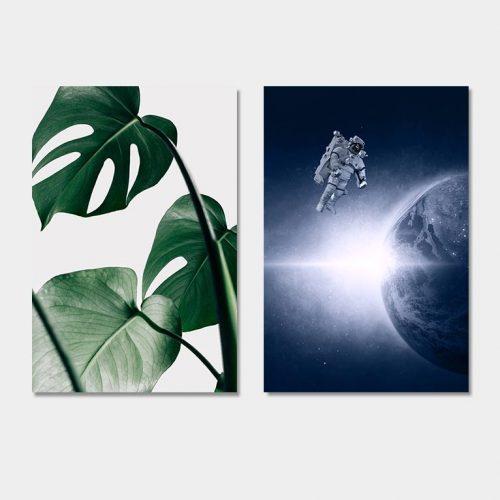 poster set monstera blad astronaut