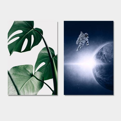 poster set monstera blad astronaut
