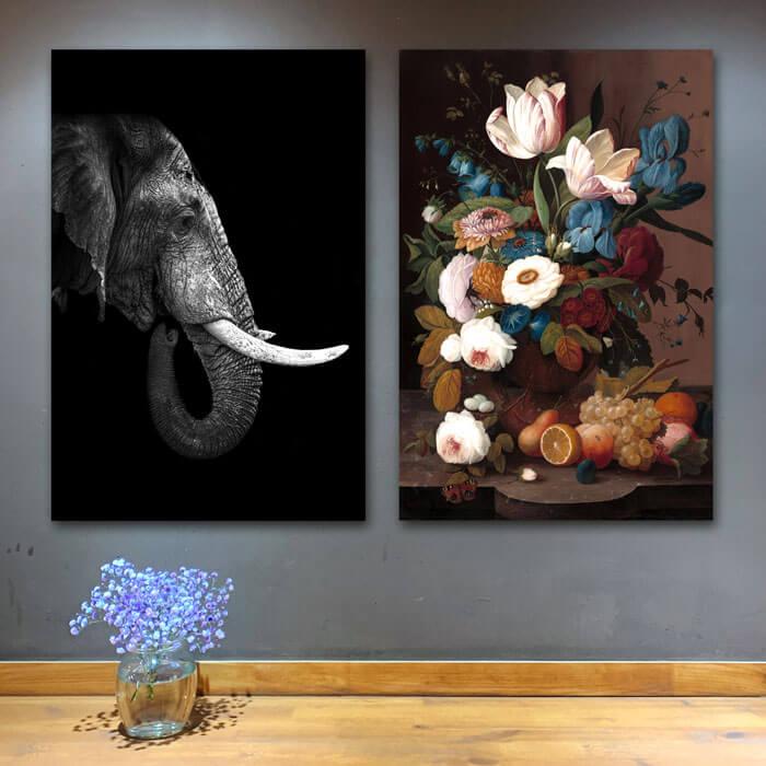 set olifant bloemen