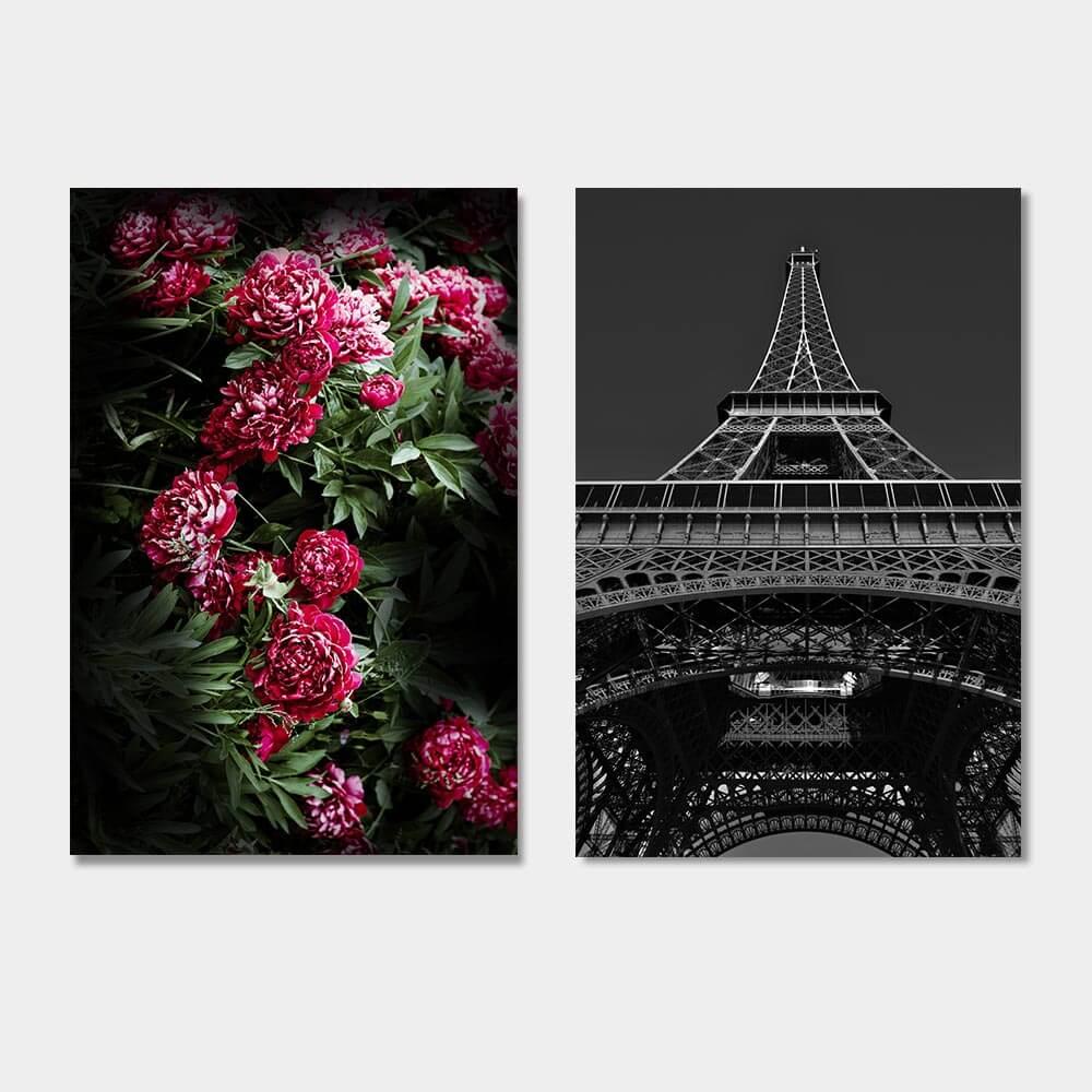 set bloemen eiffeltoren