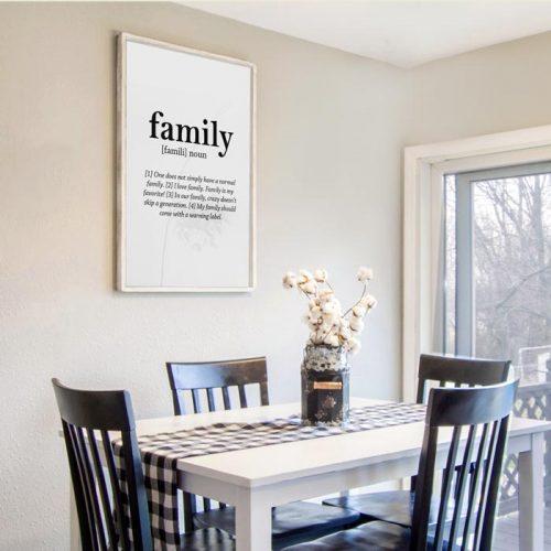family noun tekst print