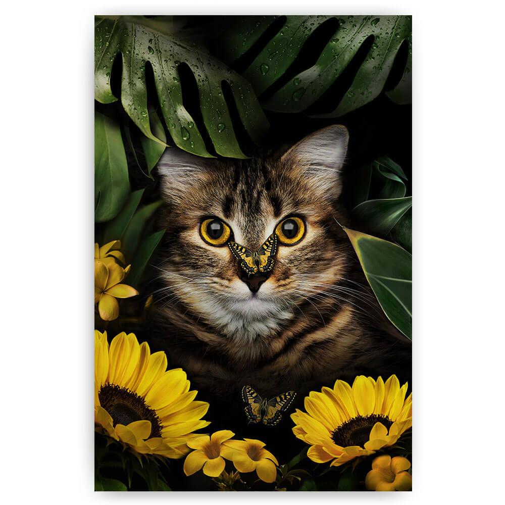 schilderij kat tussen bloemen