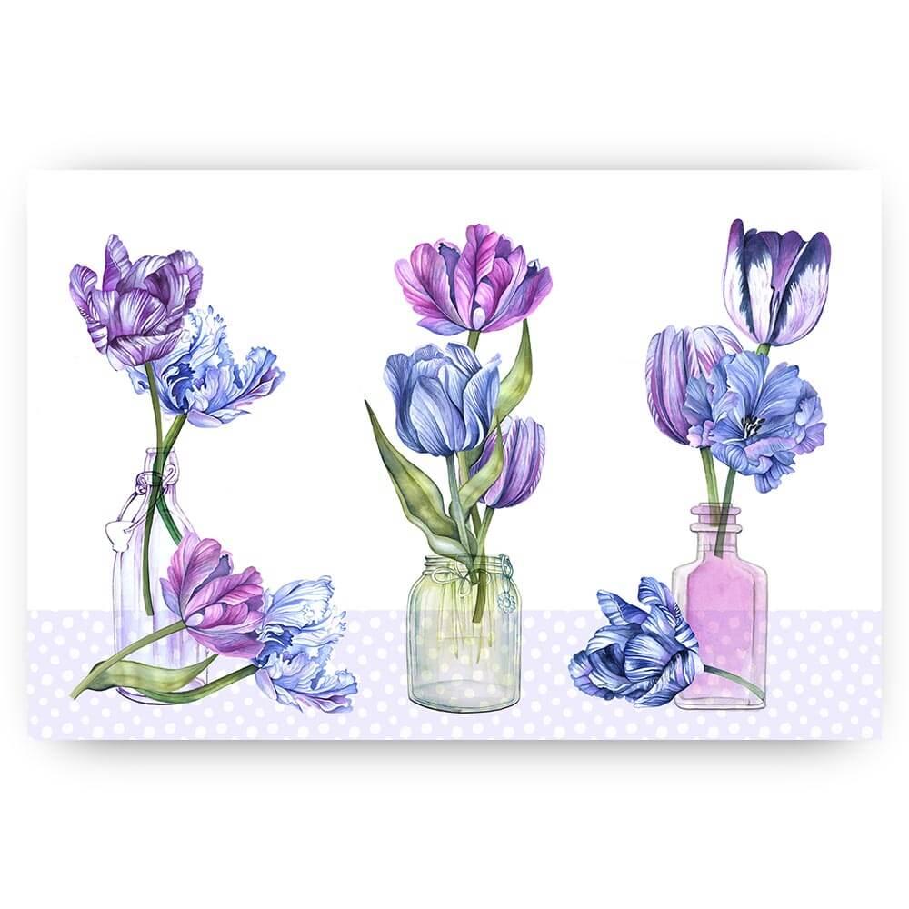 paarse tulpen in vazen