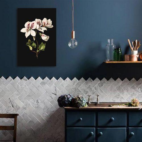 poster vintage witte bloem