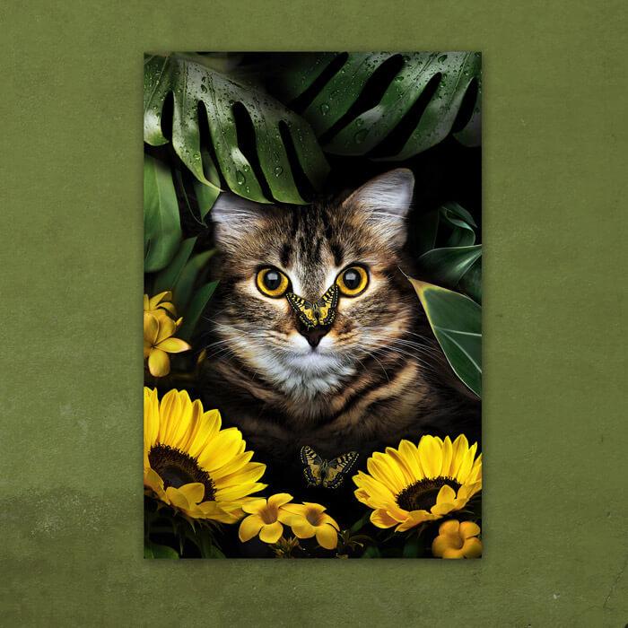 kat in bloementuin schilderij