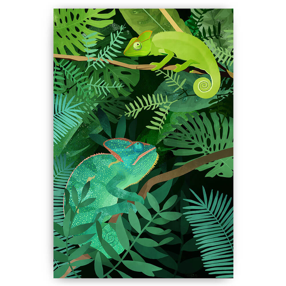 kameleons jungle bladeren