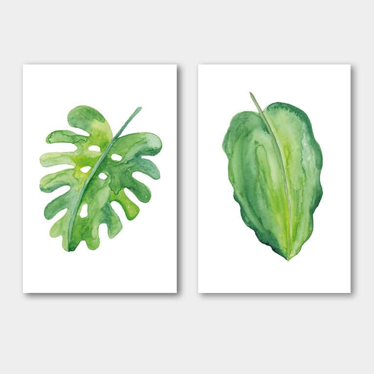 groene waterverf bladeren