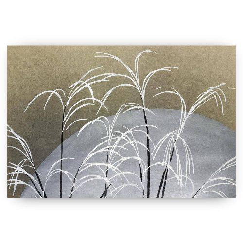 abstracte print met zon en gras