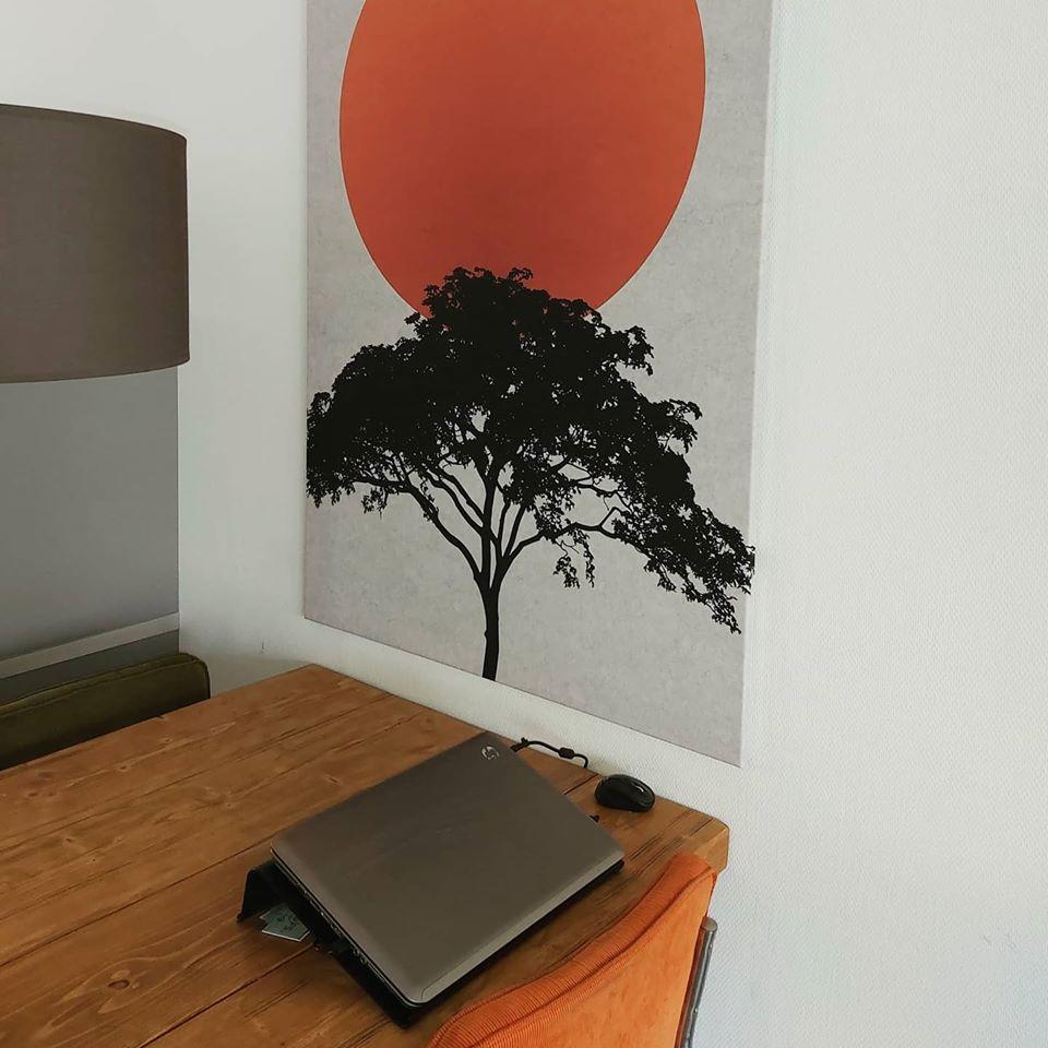 zon met bomen schilderij woonkamer