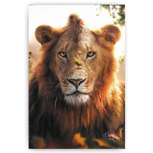 Leeuw met vogel op z'n neus
