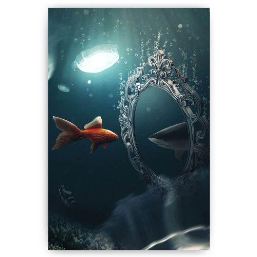 goudvis met spiegel