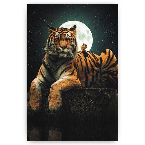 tijger met volle maan