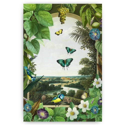 venster met bloemen vogels en vlinders