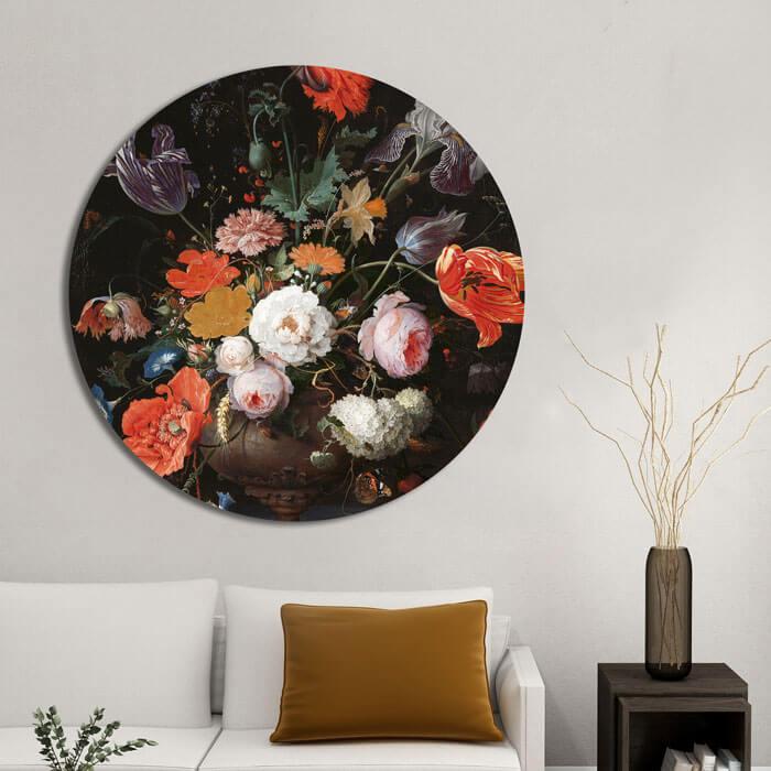 rond schilderij bloemen stilleven